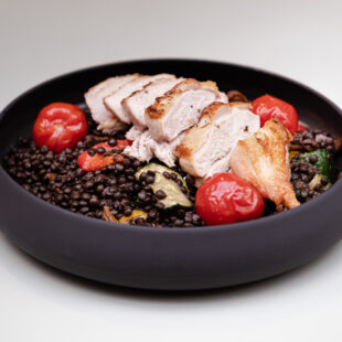 Farm chicken, black lentil